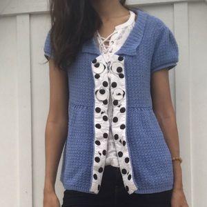 Moth anthro knitted blue blouse medium